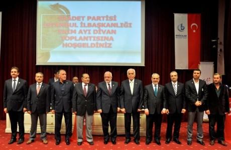Saadet Partisi İstanbul'un 39 ilçesindeki adaylarını belirliyor. Geçtiğimiz günlerde 4 ilçedeki adaylar açıklanırken dün Divan Toplantısı'nda 4 ilçenin belediye başkan adayı daha açıklandı. Geri kalan 31 ilçe belediye adayları da önümüzdeki günlerde kamuoyu ile paylaşılacağı öğrenildi. İşte Saadet'in İstanbul adayları; Ender Esiner (Avcılar), Beşir İstemi (Bağcılar), Erol Urhan (Esenler), Lütfi Kibiroğlu (Fatih), Bilal Ay (Gaziosmanpaşa), Bekir Cesur (Kadıköy), Zeynel Keskin (Kağıthane), Kadir tokalı (Silivri), H. İbrahim Arıkan (Sultanbeyli).